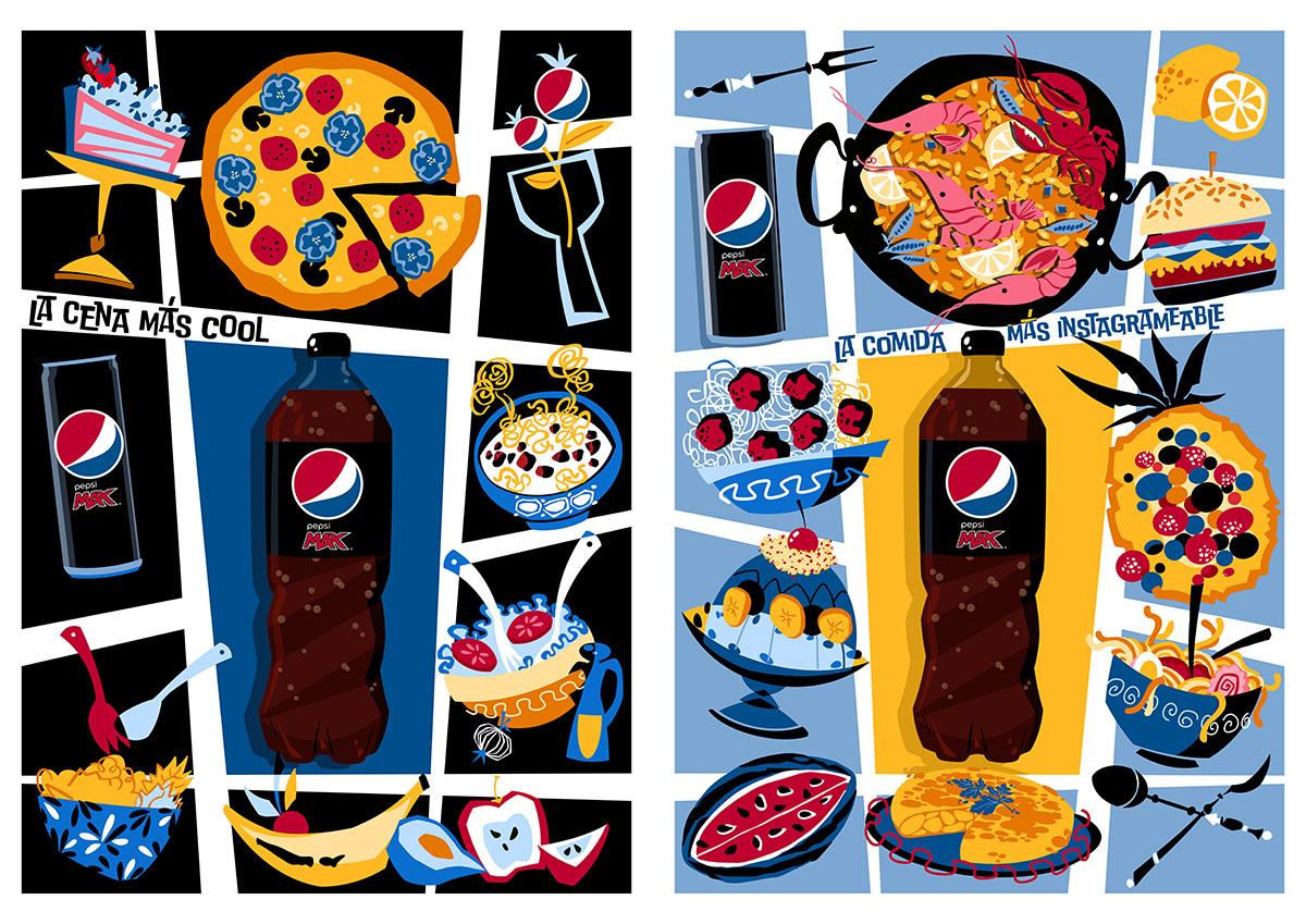 ilustraciones para Pepsi Max firmadas por Abe the Ape