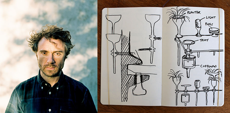 Thomas Heatherwick de Reino Unido con su mesa Stem con plantas